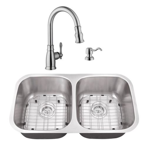 """32.25"""" 16G 50/50 Kitchen Sink and Traditional Faucet"""