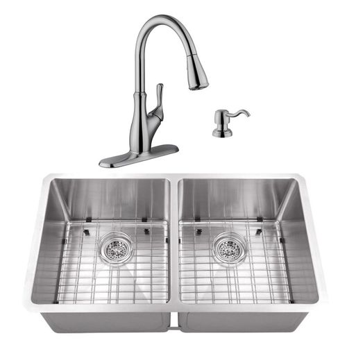 """32"""" 16G 50/50 Radius Corner Stainless Steel Kitchen Sink and Transitional Faucet"""
