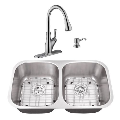 """32.25"""" 16G 50/50 Kitchen Sink and Transitional Faucet"""