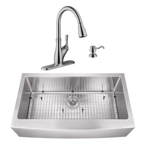 """32.88"""" 16G 50/50 Undermount Apron-Front Kitchen Sink with Transitional Faucet"""