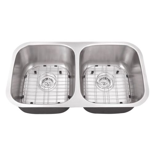 """32.25"""" 50/50 Double-Basin 16G Undermount Kitchen Sink in Brushed Stainless Steel (32.25"""" x 18.5"""" x 9"""")"""