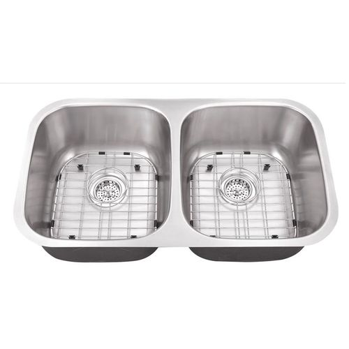 """32.25"""" 50/50 Double-Basin 18G Undermount Kitchen Sink in Brushed Stainless Steel (32.25"""" x 18.5"""" x 9"""")"""
