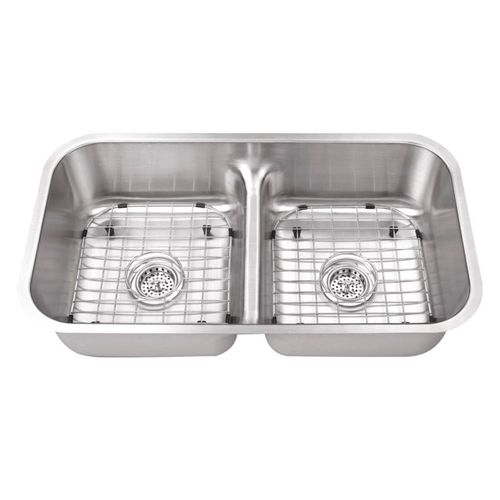 """32.5"""" 50/50 Double-Basin Undermount Kitchen Sink in Brushed Stainless Steel (32.5"""" x 18.13"""" x 8"""")"""