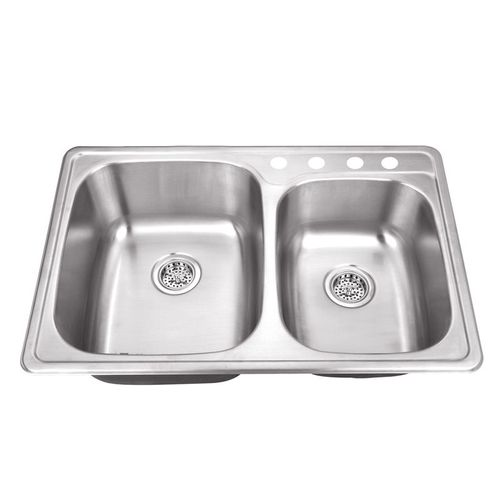"""33.13"""" 60/40 Double-Basin Drop-In Kitchen Sink in Brushed Stainless Steel (33.13"""" x 22"""" x 9"""")"""