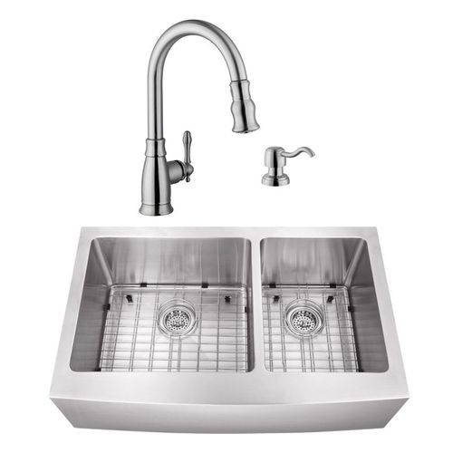 """32.88"""" 16G 60/40 Undermount Apron-Front Kitchen Sink with Traditional Faucet"""