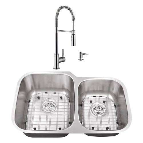 """32"""" 16G 60/40 Kitchen Sink and Industrial Faucet"""