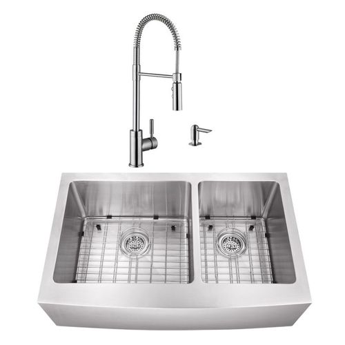 """32.88"""" 16G 60/40 Undermount Apron-Front Kitchen Sink with Industrial Faucet"""