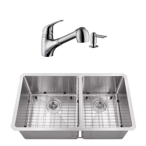 """32"""" 16G 60/40 Radius Corner Stainless Steel Kitchen Sink and Low Profile Faucet"""