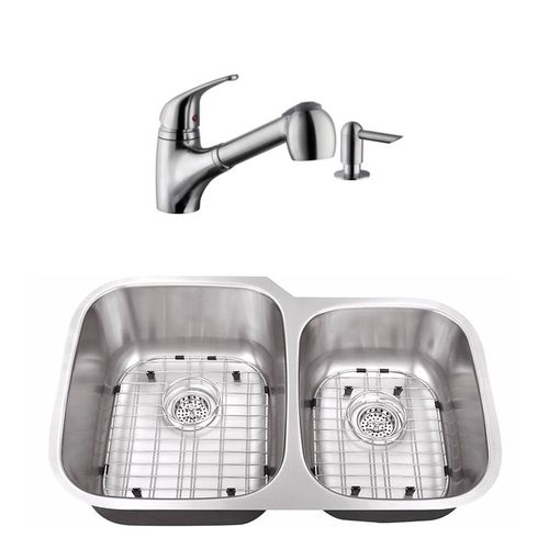 """32"""" 16G 60/40 Kitchen Sink and Low Profile Faucet"""
