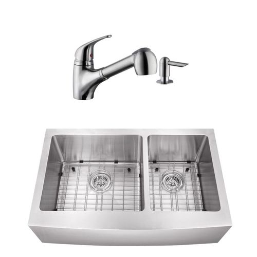 """32.88"""" 16G 60/40 Undermount Apron-Front Kitchen Sink with Low-Profile Faucet"""