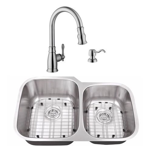 """32"""" 18G 60/40 Stainless Steel Kitchen Sink and Traditional Faucet"""