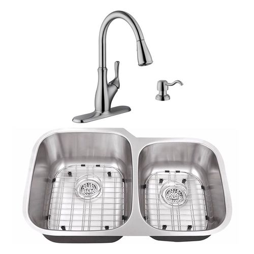"""32"""" 16G 60/40 Kitchen Sink and Transitional Faucet"""