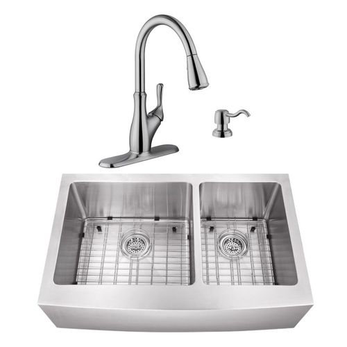 """32.88"""" 16G 60/40 Undermount Apron-Front Kitchen Sink with Transitional Faucet"""