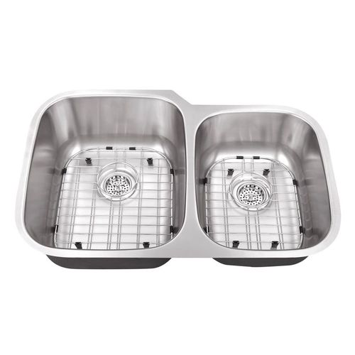 """32"""" 60/40 Double-Basin 16G Undermount Kitchen Sink in Brushed Stainless Steel (32"""" x 20.75"""" x 9"""")"""