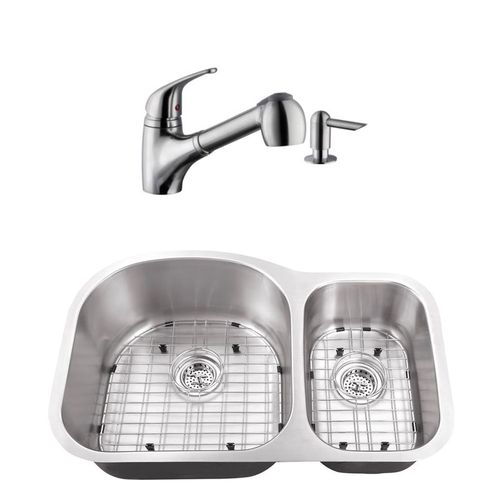 """31.5"""" 16G 70/30 Eurostyle Stainless Steel Kitchen Sink and Low Profile Faucet"""