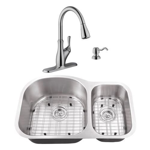 """31.5"""" 16G 70/30 Eurostyle Stainless Steel Kitchen Sink and Transitional Faucet"""