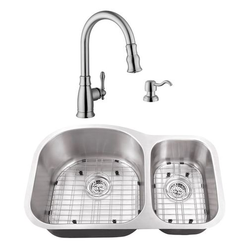 """31.5"""" 16G 70/30 Eurostyle Stainless Steel Kitchen Sink and Traditional Faucet"""
