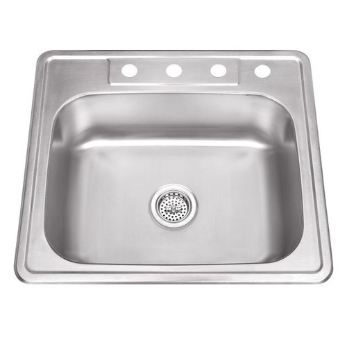 """25"""" Single-Basin Drop-In Kitchen Sink in Brushed Stainless Steel (25"""" x 22"""" x 8.25"""")"""