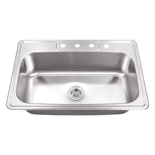 """33"""" Single-Basin Drop-In Kitchen Sink in Brushed Stainless Steel (33"""" x 22"""" x 8.63"""")"""
