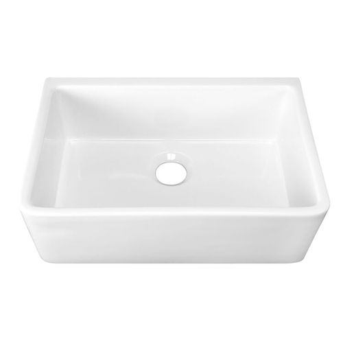 """29.75"""" Fireclay Single-Basin Farmhouse Apron Kitchen Sink (with Mounting Hardware) in Gloss White (29.75"""" x 18"""" x 10"""")"""