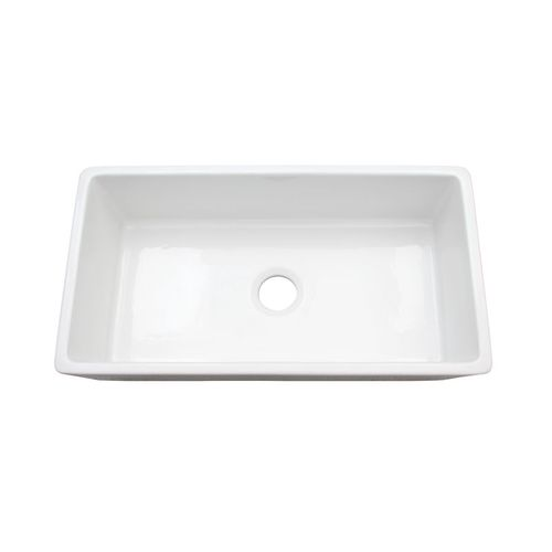 """36.13"""" Fireclay Single-Basin Farmhouse Apron Kitchen Sink (with Mounting Hardware) in Gloss White (36.13"""" x 18"""" x 10"""")"""