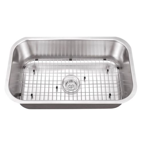 """30"""" Single-Basin 16G Undermount Kitchen Sink in Brushed Stainless Steel (30"""" x 18.13"""" x 9"""")"""