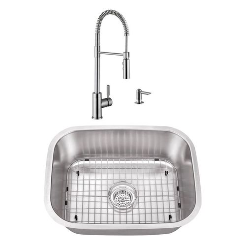"""23.44"""" 18G Stainless Steel Utility Sink and Industrial Faucet"""