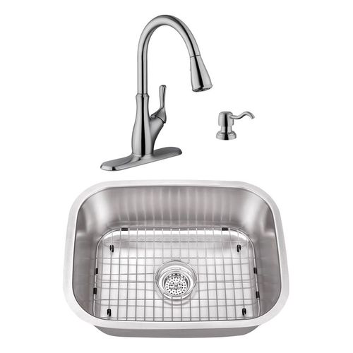 """23.44"""" 18G Stainless Steel Utility Sink and Transitional Faucet"""