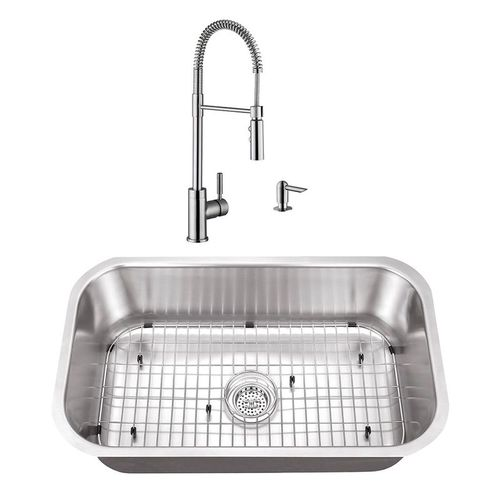 """30"""" 16G Stainless Steel Kitchen Sink and Industrial Faucet"""