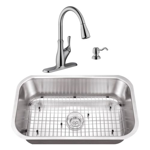 """30"""" 16G Stainless Steel Kitchen Sink and Transitional Faucet"""