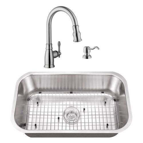 """30"""" 16G Stainless Steel Kitchen Sink and Traditional Faucet"""