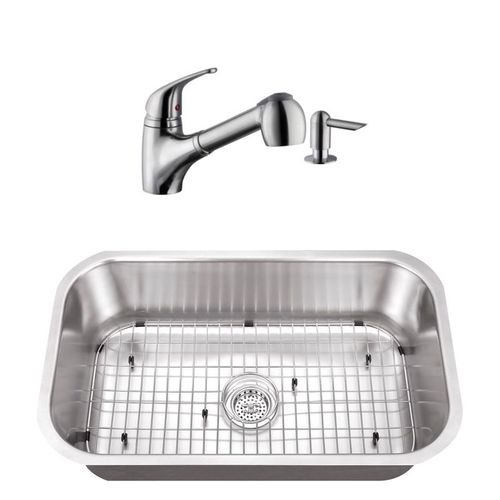 """30"""" 16G Stainless Steel Kitchen Sink and Low Profile Faucet"""