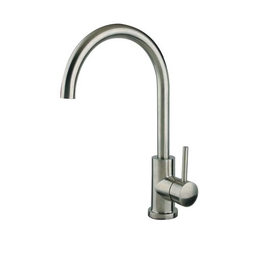 Modern Gooseneck Single-Handle Kitchen Faucet in Brushed Nickel