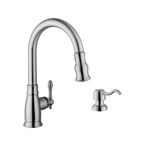 Traditional Single-Handle Pull-Down Kitchen Faucet in Brushed Nickel