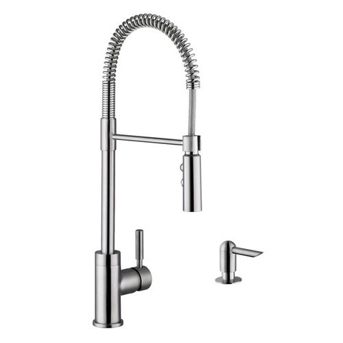 Industrial Single-Handle Pull-Down Kitchen Faucet in Brushed Nickel
