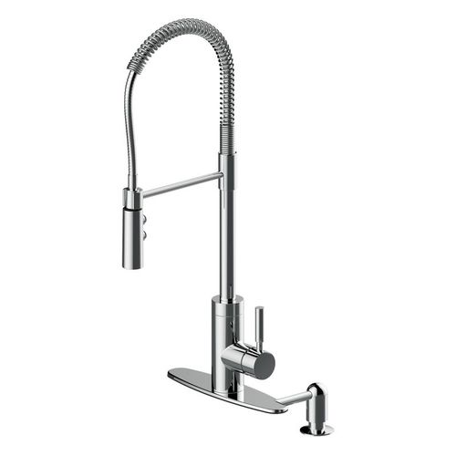 Industrial Single-Handle Pull-Down Kitchen Faucet in Polished Chrome