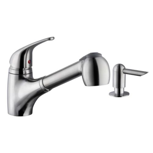 Traditional Single-Handle Pull-Out Kitchen Faucet in Brushed Nickel