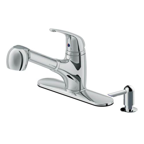 Traditional Single-Handle Pull-Out Kitchen Faucet in Polished Chrome