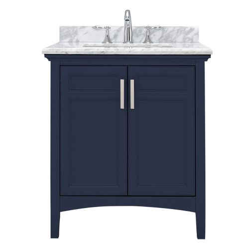 """Ellis Midnight Blue Freestanding Vanity with Integrated Sink and Countertop - Two Doors (24"""" x 34.13"""" x 22"""")"""