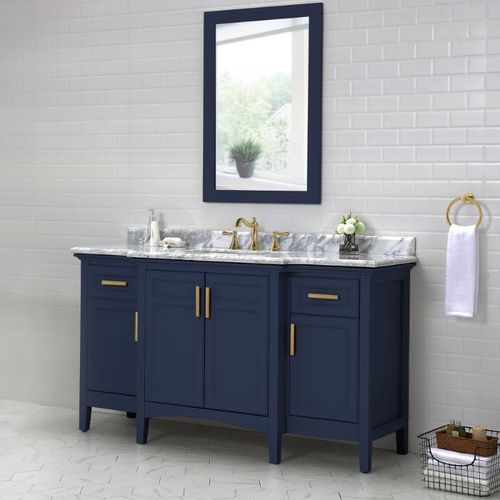 """Ellis Midnight Blue Freestanding Vanity with Integrated Sink and Countertop - Four Doors (60"""" x 34.5"""" x 22"""")"""