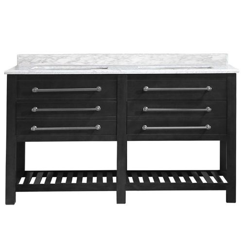 """Wesley Iron Grey Freestanding Vanity with Integrated Sink and Countertop - Two Drawers (60"""" x 34.5"""" x 22"""")"""