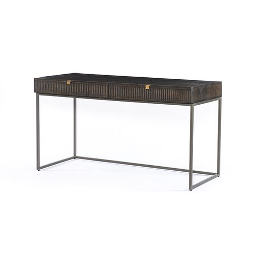 """Kelby Desk in Aged Brass & Carved Vintage Brown (56"""" x 25"""" x 31"""")"""
