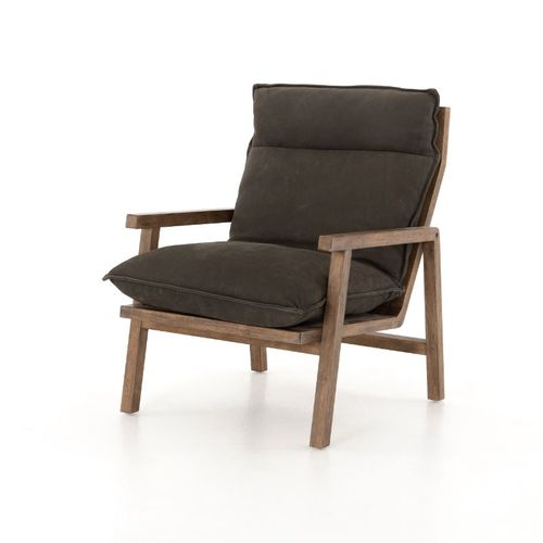 """Orion Chair in Nubuck Charcoal (27"""" x 34.5"""" x 39"""")"""