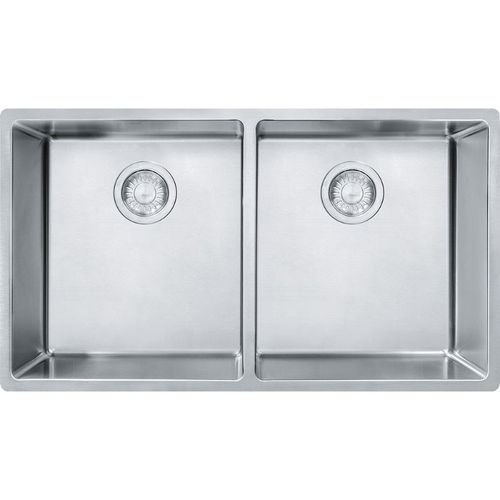 """Cube 17.75'' x 14.56"""" Stainless Steel Double Basin Kitchen Sink"""
