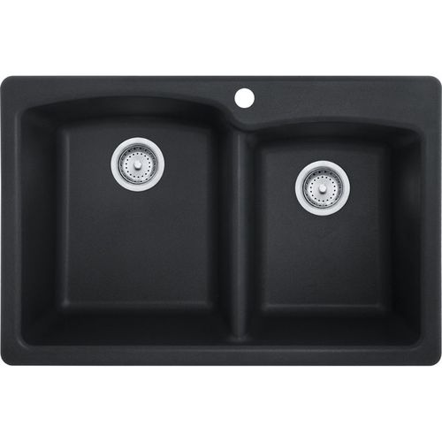 Ellipse 22'' Granite Double Basin Drop-In with Offset Drain Kitchen Sink in Onyx