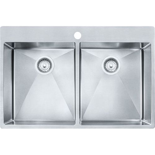 Vector 33'' Stainless Steel Double Basin Drop-In Kitchen Sink