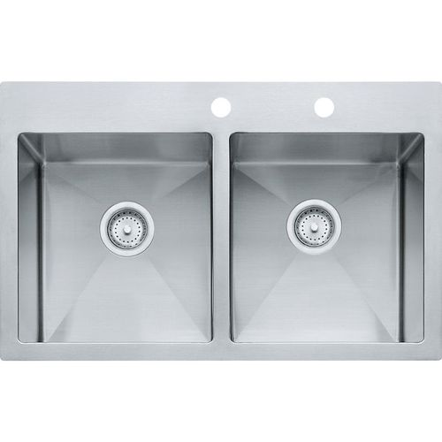 Vector 22'' Stainless Steel Double Basin Drop-In Kitchen Sink