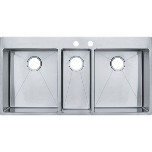Vector 43'' Stainless Steel Triple Basin Drop-In Undermount Kitchen Sink with 2 Faucet Holes