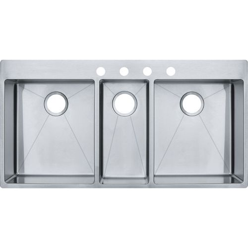 Vector 43'' Stainless Steel Triple Basin Drop-In Undermount Kitchen Sink with 4 Faucet Holes