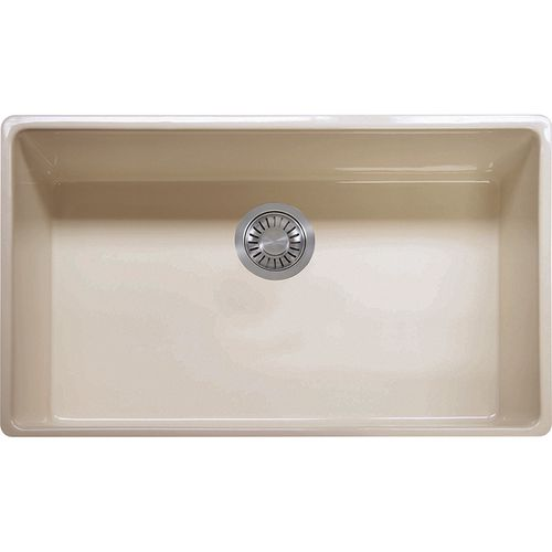 """Farmhouse 33"""" Fireclay Single Basin Undermount Apron Front Kitchen Sink in Biscuit"""